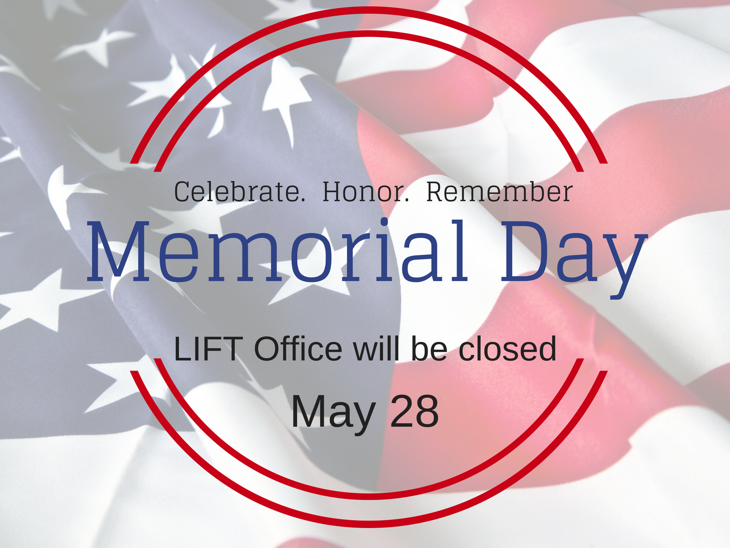 Closed in Observance for Memorial Day